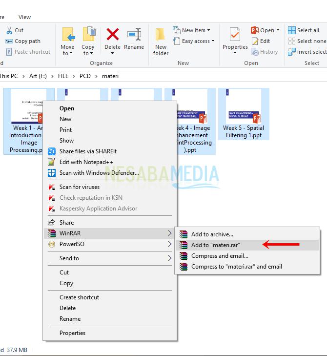 cara membuat file zip