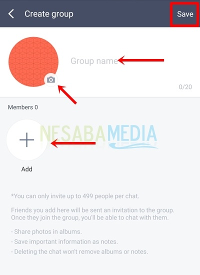 input group name, change group photo, and add group member