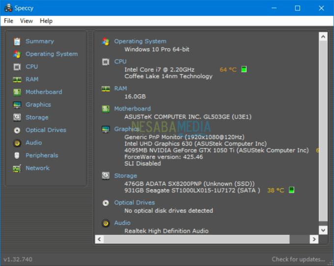cara melihat spesifikasi laptop windows dengan speccy