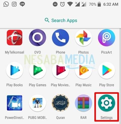 click settings menu