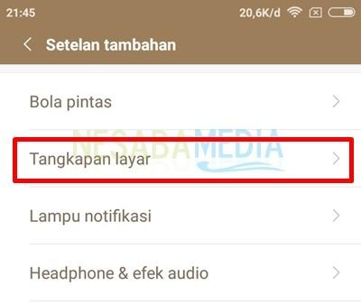 click screenshot or tangkapan layar