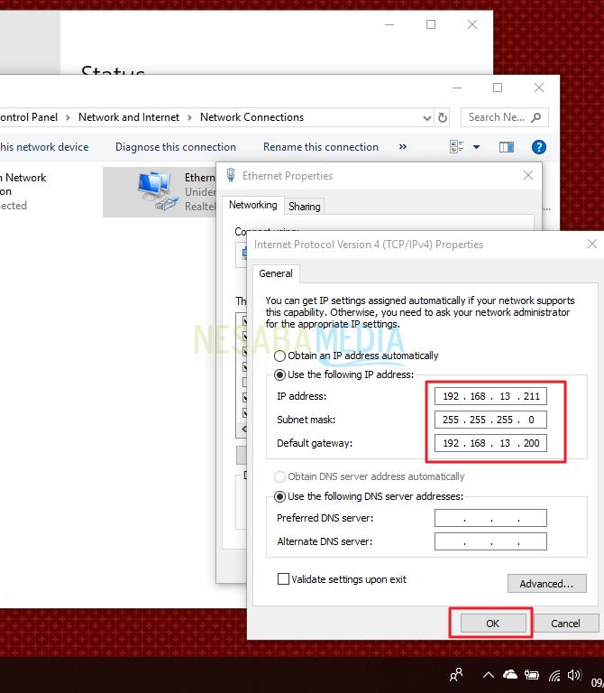 cara konfigurasi IP address melalui Network Connections