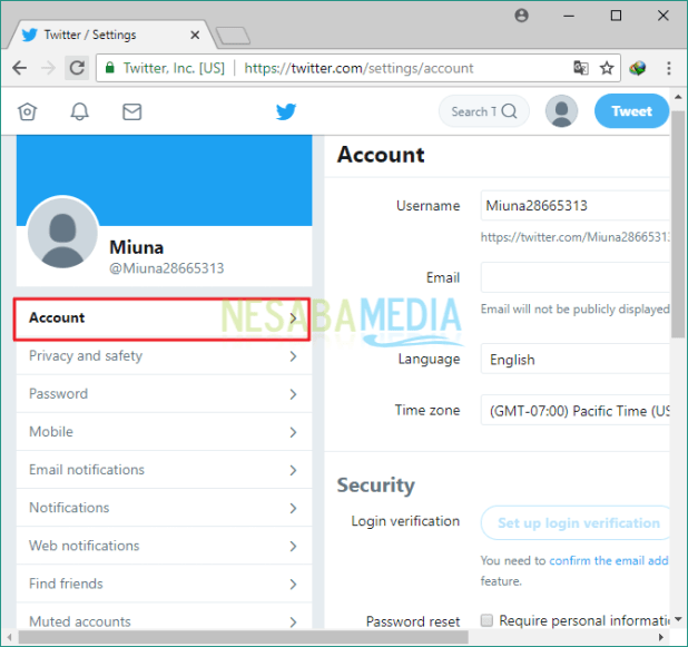 Disable twitter account via the web