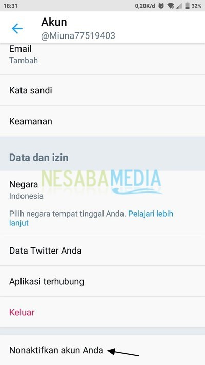 Disable twitter account via the app
