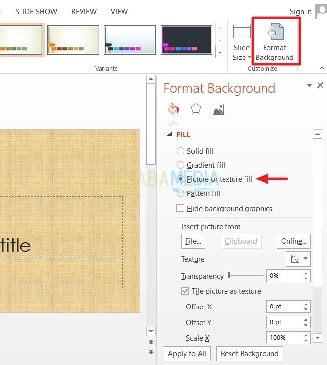 cara mengganti background powerpoint 2013
