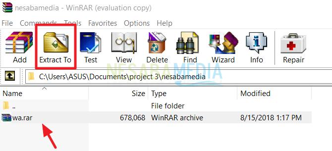 cara mengekstrak file rar