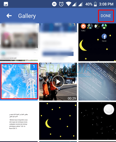 select video from your gallery