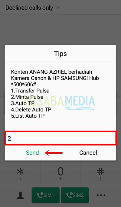 Langkah 2 dial - pilih menu 2