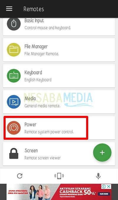 Pilih bagian menuPower