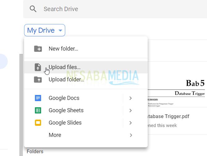pilihMy Drive > Upload Files