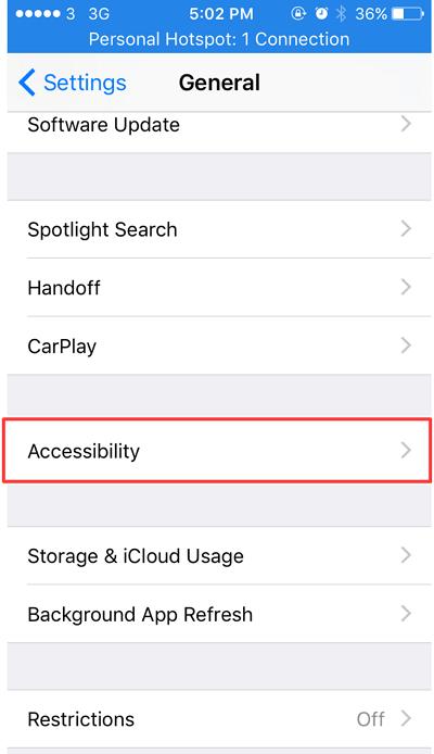 accesibility di aplikasi setting