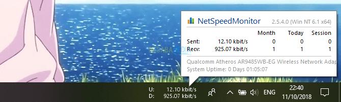 melalui NetSpeedMonitor di taskbar