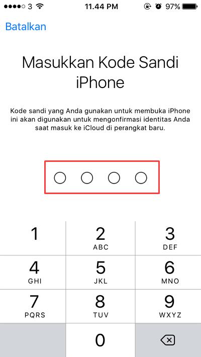 masukkan kode sandi iphone