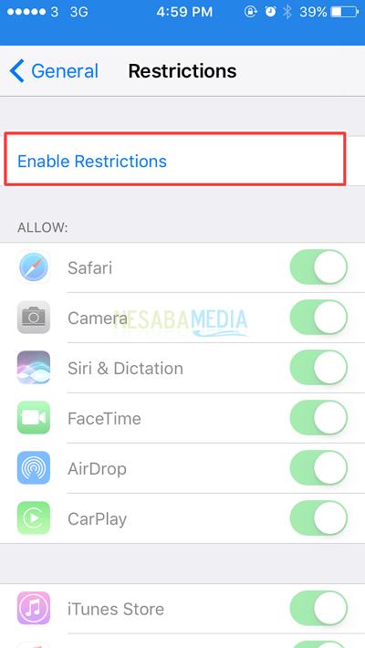 untuk mengaktifkan restriction