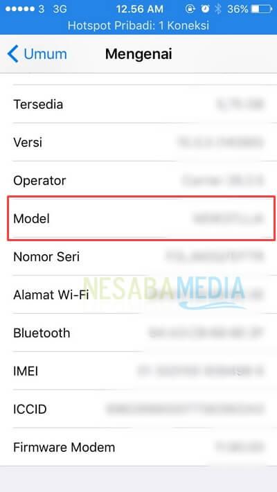 cara cek model iphone