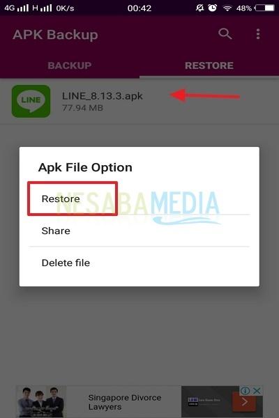 cara backup aplikasi Android - klik tab Restore
