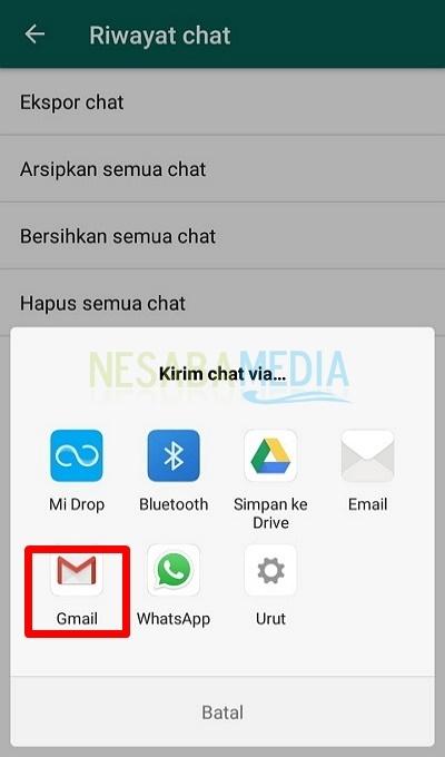 Pilih opsi Gmail