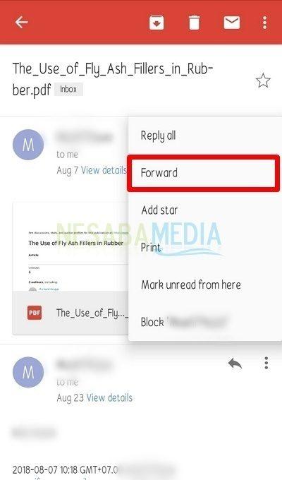 cara forward email di HP Android