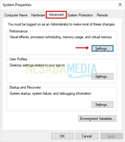 3 - pilih tab advanced lalu settings