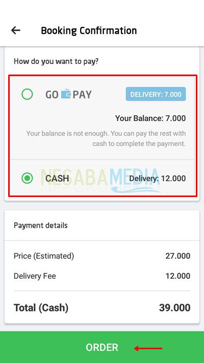 Cara 1 10 - pilih metode pembayaran lalu order