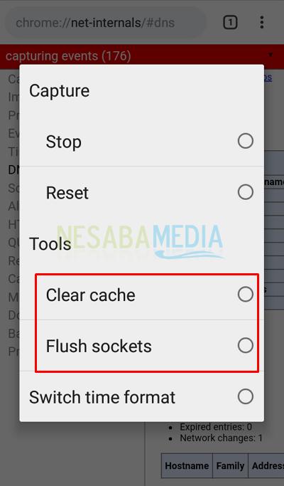 4 - pilih clear cache dan flush socket