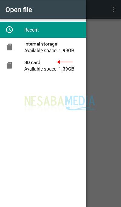 7 - Pilih SD card atau memori eksternal