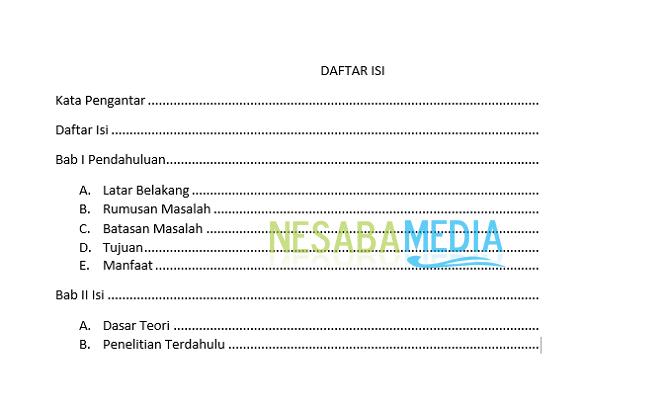 cara membuat titik - titik daftar isi di Microsoft Word