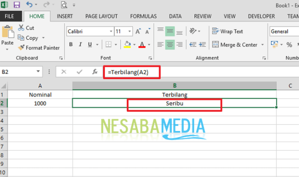 how to make a number receipt counted in Ms. Excel