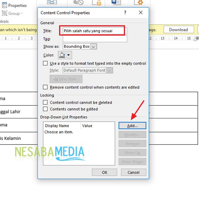 cara membuat menu drop down dan check box pada form di Word
