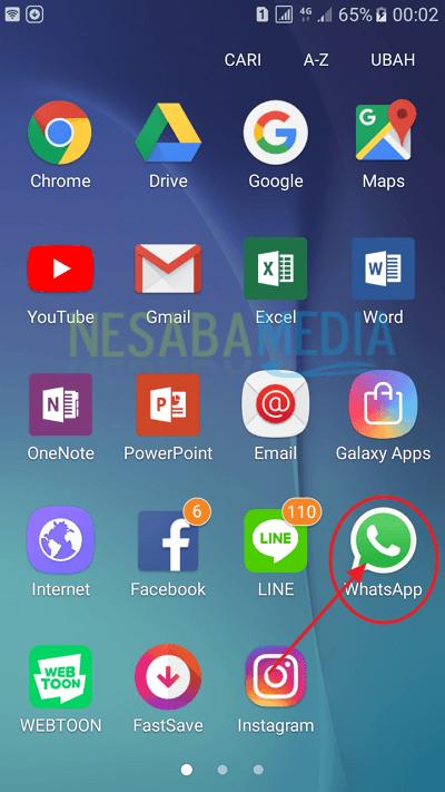 buka aplikasi whasapp