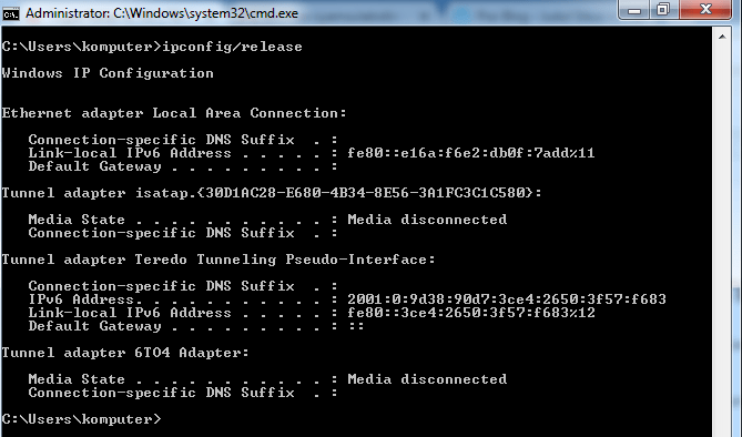 perintah ipconfig-release