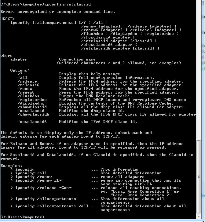 perintah ipconfig-setclassid