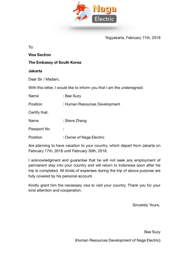 Surat Keterangan Kerja untuk Visa