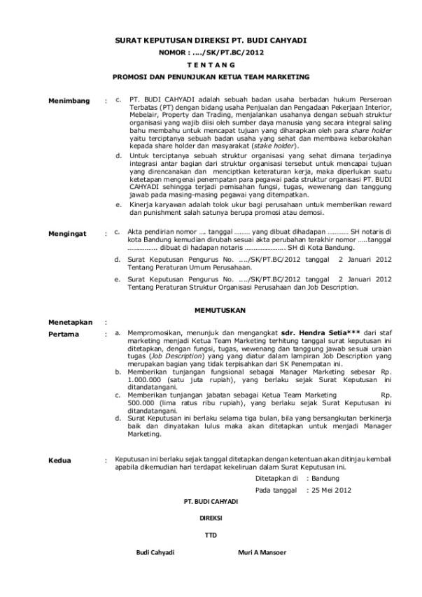 Surat Keputusan Direksi