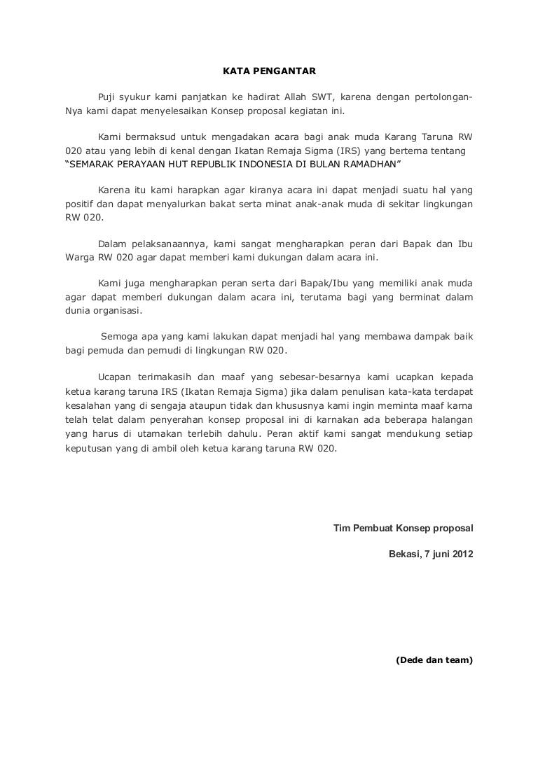Contoh Kata Pengantar Proposal Usaha Yang Baik Dan Benar Doc Pdf