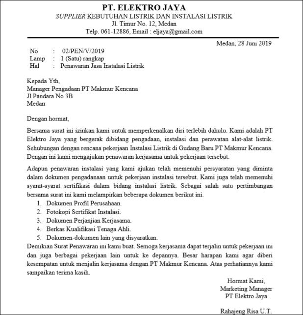 Official Sample Bid Letter