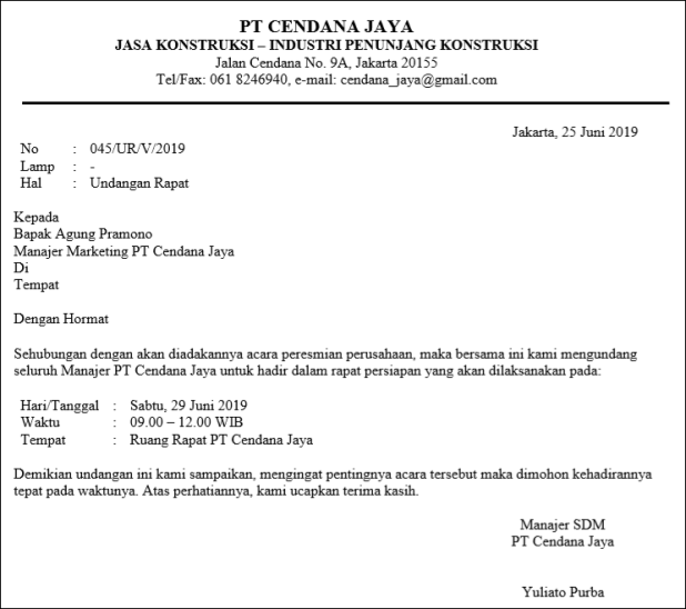 company official letter