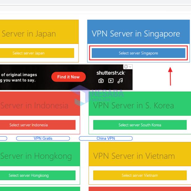 Click Select server Singapore