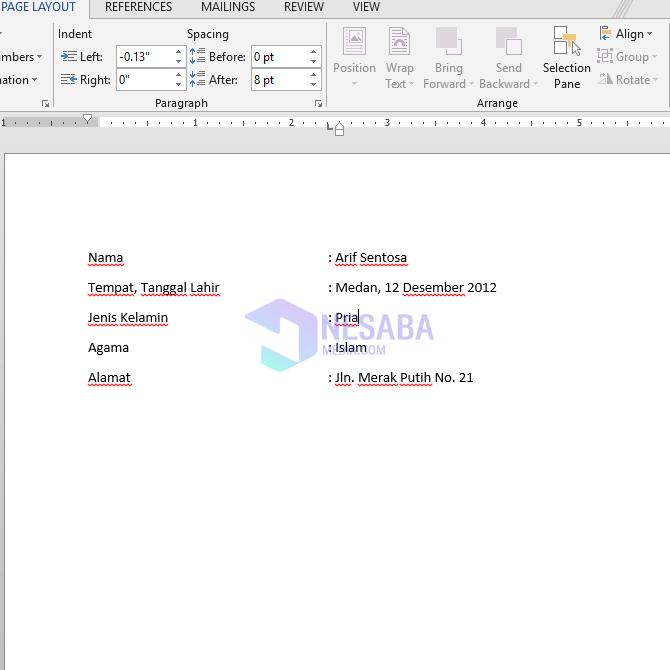 cara merapikan titik dua di Microsoft Word untuk pemula