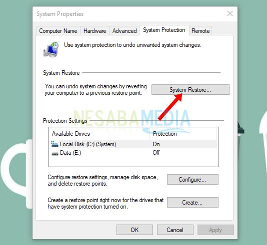 cara repair windows 10 dengan system restore