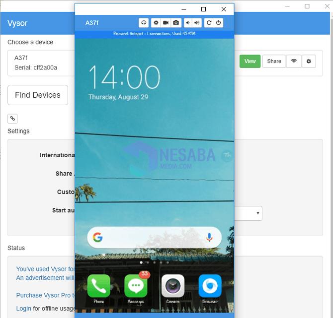 cara mirroring Android ke PC sampai terhubung