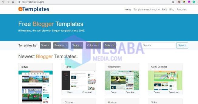 cara mengganti template blog di btemplates