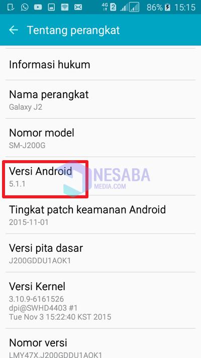 tutorial cara melihat versi android