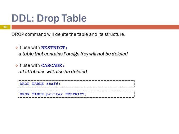 Contoh DDL DROP