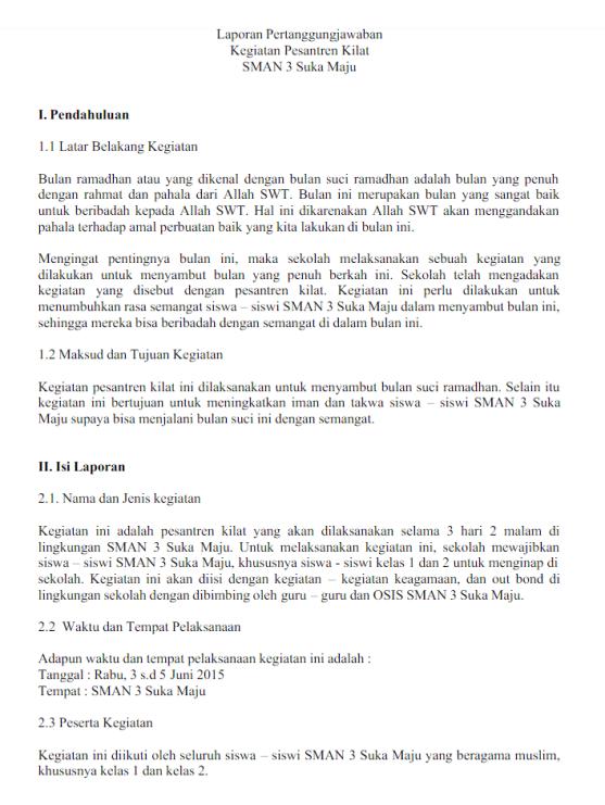 10 Contoh Laporan Kegiatan Sekolah Pelatihan Dll File Doc