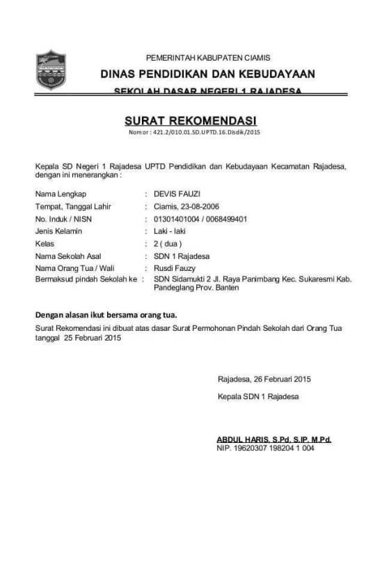 Contoh Surat Rekomendasi Pindah Sekolah