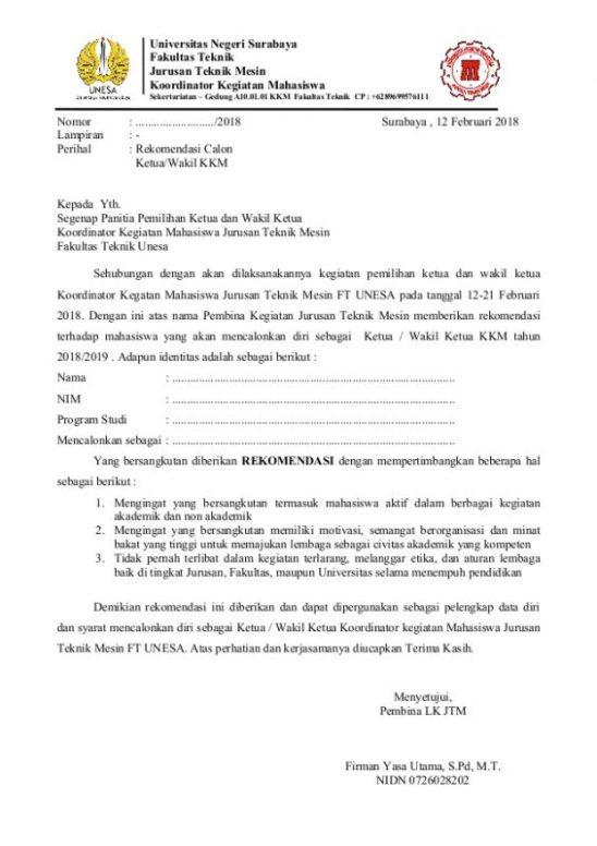 contoh surat rekomendasi kuliah