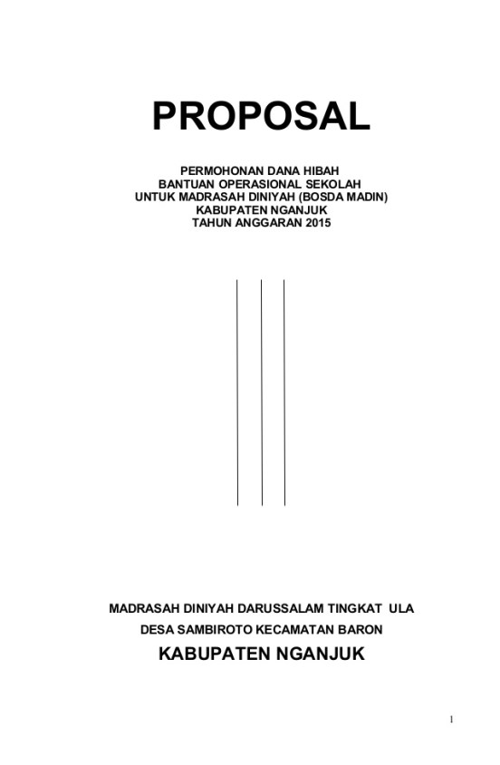 Contoh Cover Proposal Pengajuan Dana