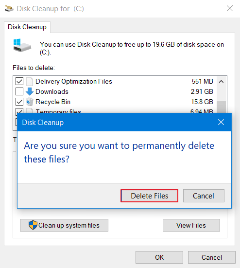 Just select Delete Files