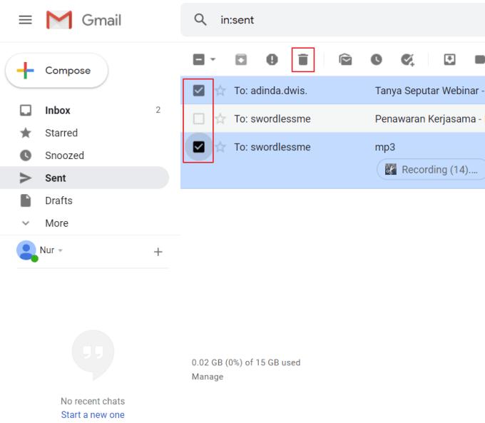 Menghapus Email yang Sudah Dikirim Laptop 4
